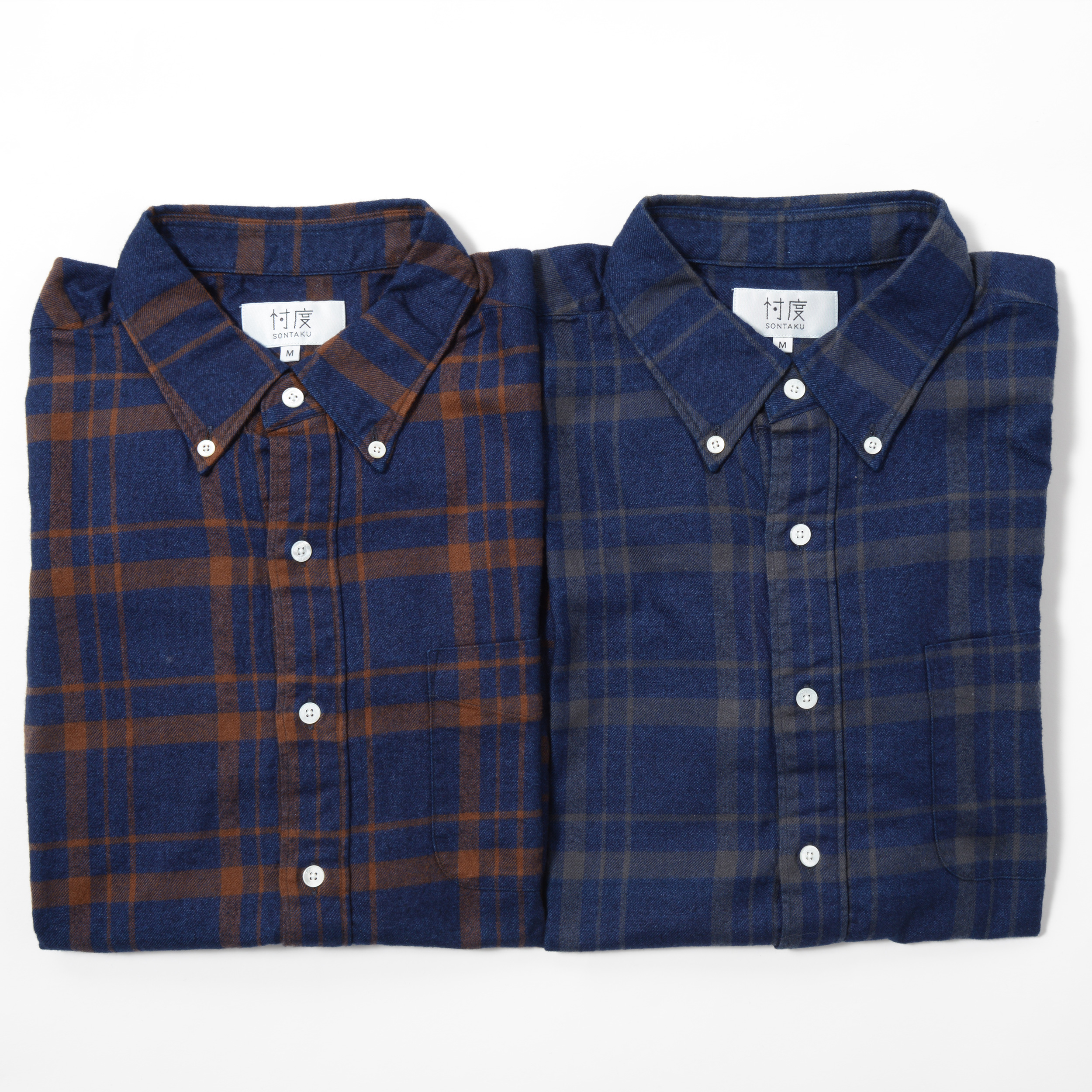 INDIGO FLANNEL CHECK BD SHIRT(1703FN)